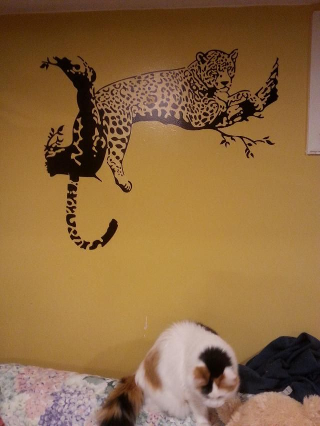 Leopard animals wall sticker for bedroom livingroom for C meo bedroom wall dress