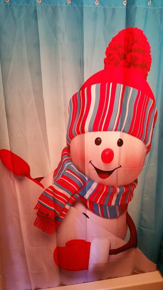 Waterproof Mouldproof Snow Man Printed Shower Curtain