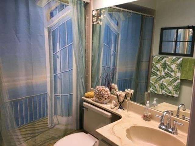 Bath decor balcony seascape print shower curtain white 2 for Seascape bathroom ideas