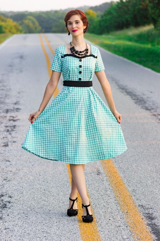 28% OFF] 2021 Frilled Buttoned Gingham 1950s Dress In GREEN | DressLily